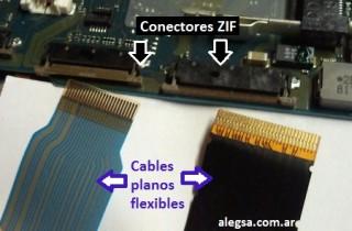 Imagen de dos cables plano flexible y dos conectores ZIF