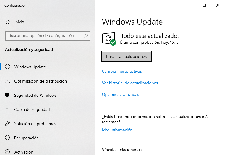 Configuración de Windows Update, el actualizador automático de Windows.