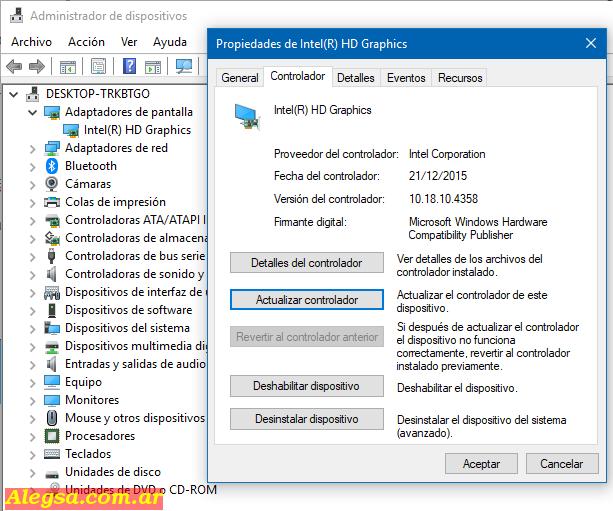 Actualizar controladores gráficos de Intel desde el Administrador de dispositivos de Windows