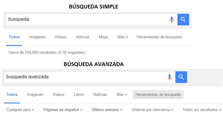 En la imagen se puede apreciar un ejemplo del buscador Google empleando la búsqueda simple y luego la búsqueda avanzadada.