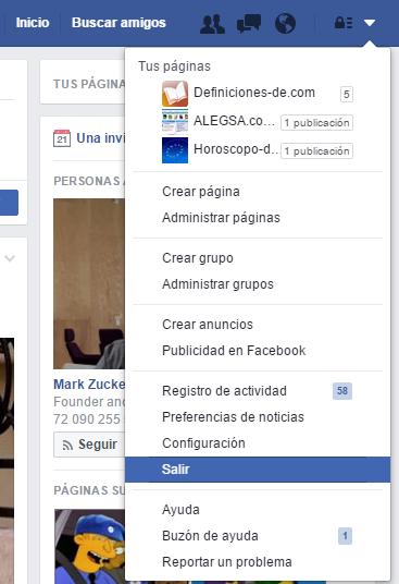 Cerrar sesión en FB
