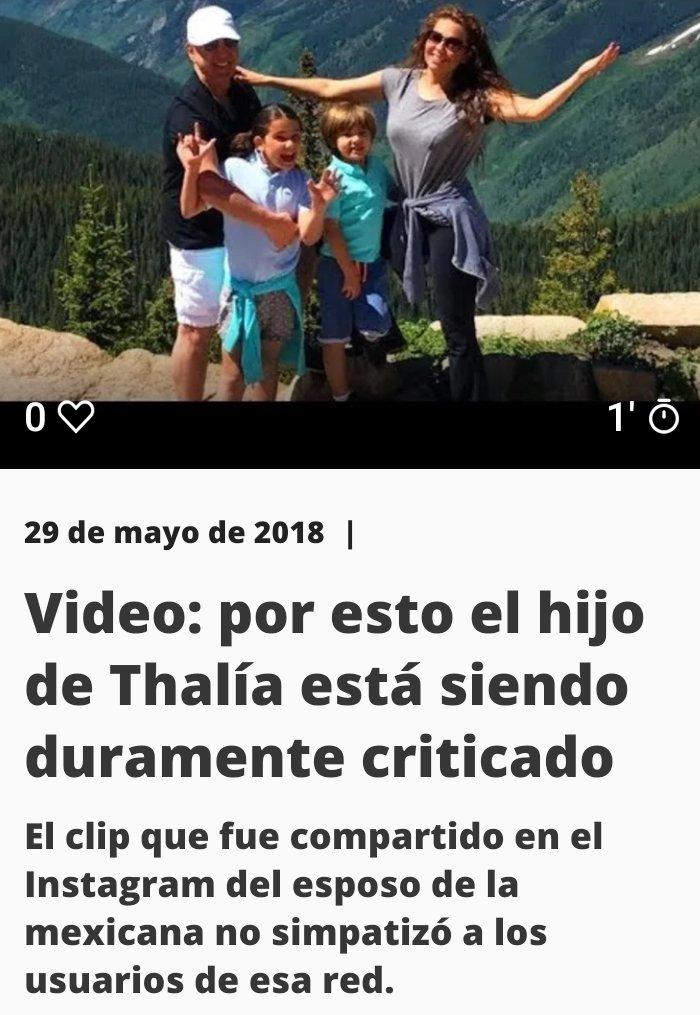 En la captura se puede ver un típico clickbait que apela a la curiosidad del visitante diciendo por esto (que no aclara qué es) están criticando al hijo de la cantante Thalía.