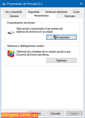 Comprobador de errores en el disco duro de Windows