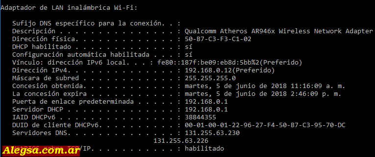 Dirección MAC o dirección física del adaptador Wi-Fi