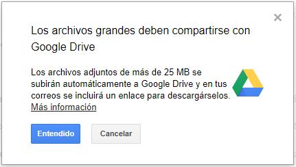 Gmail: enviar archivos más grandes de 25 MB