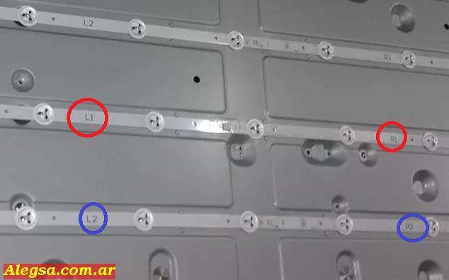 Tiras de led L1 y L2, R1 y R2 de televisores LED