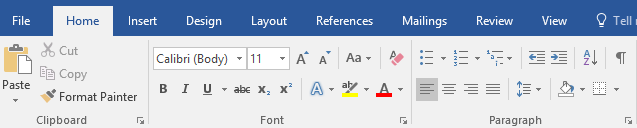 Menú ribbon en Microsoft Word 2016
