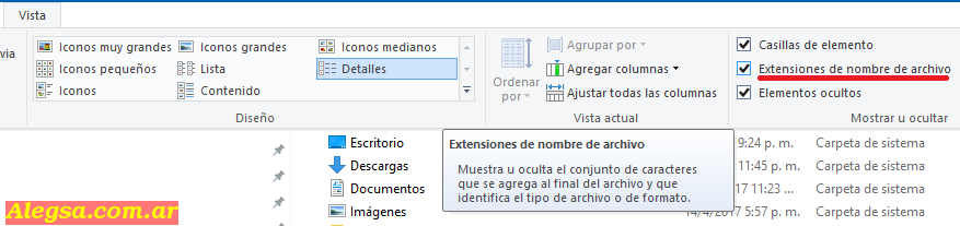 Mostrar extensiones de archivos en Windows