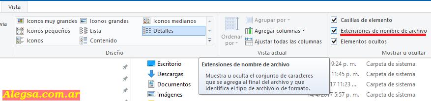 Mostrar extensiones de archivos en Windows