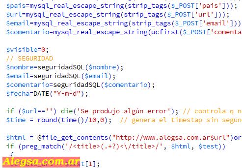 Parte de un código de programación en PHP