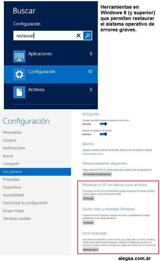 Herramienta de restauración del sistema Windows 8