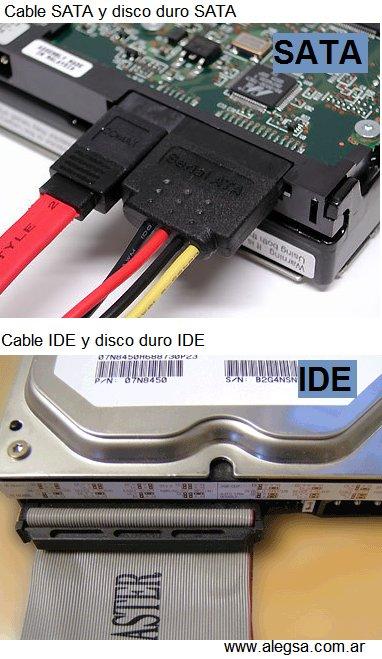 En la imagen se puede observar un conector SATA y un conector IDE