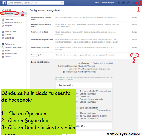 Cerrar sesiones en FB