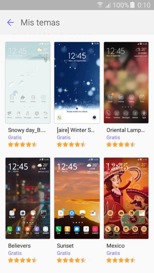 Temas que pueden elegirse en un teléfono celular con sistema operativo Android.