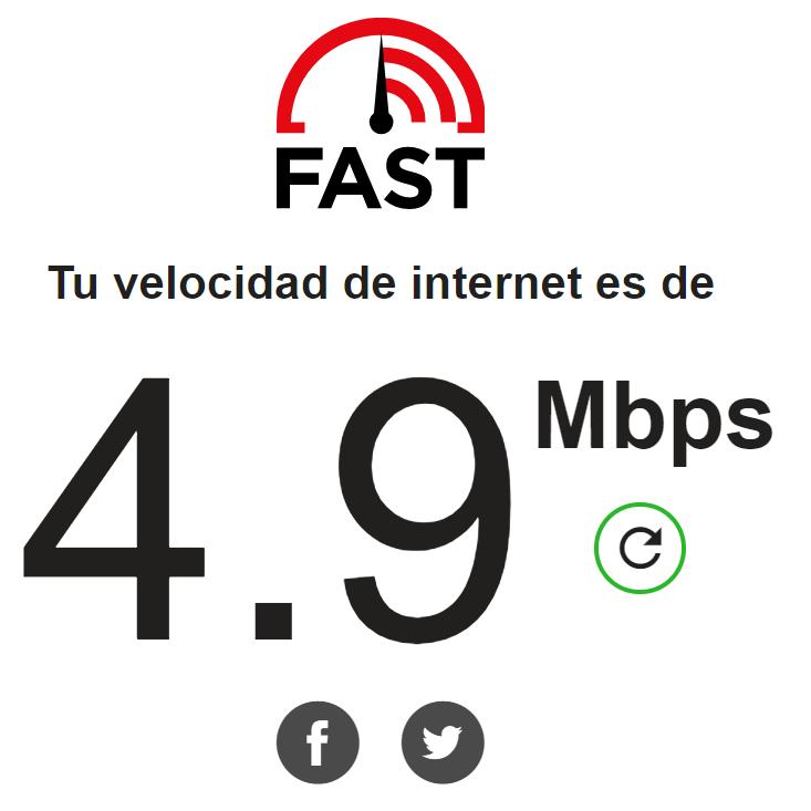 Test de velocidad Fast de Netflix
