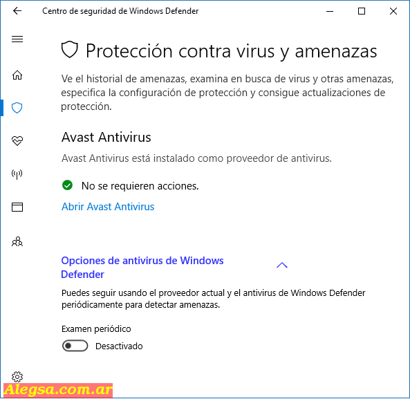 Configuración de Windows Defender